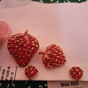 Vintage Strawberry Earring and Pin Set